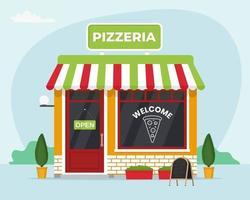 frente da loja da pizzaria. ilustração vetorial em estilo simples vetor