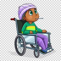 Menino doente na cadeira de rodas vetor