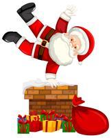Papai Noel na cena da chaminé vetor