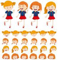 Meninas e diferentes expressões faciais vetor