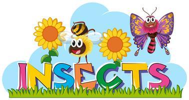 Insetos de palavra com muitos insetos no jardim vetor