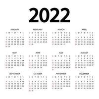 calendário de 2022 anos. a semana começa no domingo. modelo de calendário anual 2022. design do calendário nas cores preto e branco. domingo em cores vermelhas. vetor