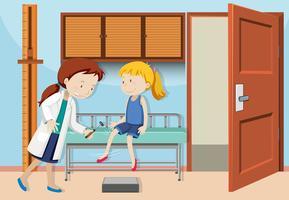 Uma garota check-up com o médico vetor