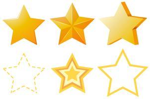 Desenhos diferentes de estrelas douradas vetor