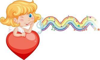 garota de Cupido segurando um coração com símbolos de melodia na onda do arco-íris vetor