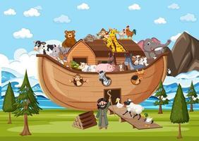 animais na arca de noé na cena do oceano vetor