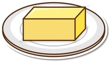 autocolante de desenho animado de bloco de manteiga em um prato vetor