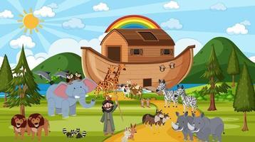 arca de noé com animais selvagens na cena da natureza vetor