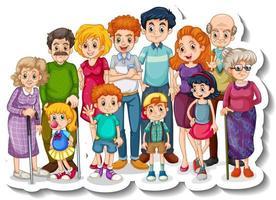 um modelo de adesivo com grandes membros da família felizes vetor
