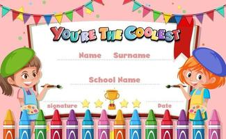 certificado de desenho animado motivacional fofo para crianças vetor