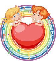 Casal de Cupido em moldura redonda arco-íris com símbolo de melodia vetor
