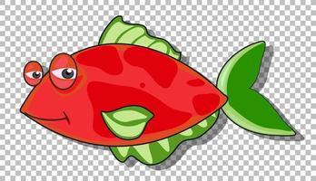um personagem de desenho animado de peixe isolado vetor