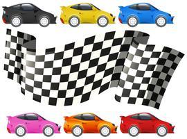 Carros de corrida e bandeira de corrida vetor