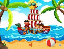 Crianças fazendo um passeio de pirata