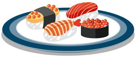 Um prato cheio de sushi japonês vetor