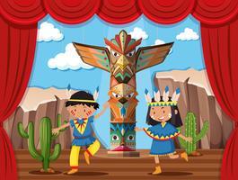 Duas crianças brincando de índio nativo no palco vetor