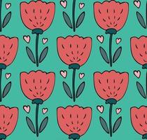 padrão sem emenda com tulipas em estilo de doodle desenhado à mão simples vetor