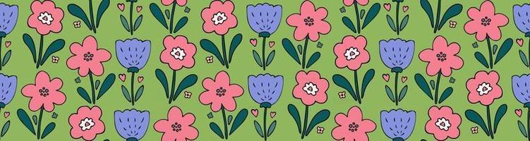 padrão sem emenda de vetor fofo primavera com rabiscos de flores simples