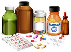 Conjunto de vários medicamentos vetor