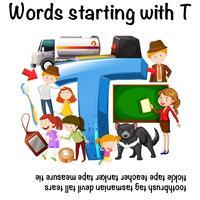 Ficha de trabalho em inglês para Palavras que começam com T vetor