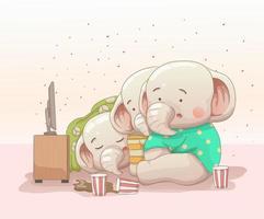 três elefantes bebê assistindo filme. estilo cartoon desenhado à mão vetor