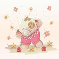 elefante bebê feliz, aproveite o pirulito. vetor