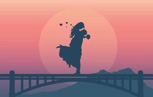 silhueta de um casal romântico amando juntos vetor