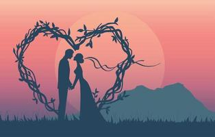 silhueta de casal romântico tendo noivado vetor