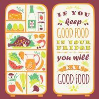 Fundo de alimentação saudável com citação vetor