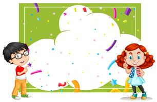 Um modelo de cartão de festa de nuvem com crianças vetor
