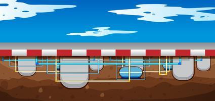 Um mapa do sistema subterrâneo de oleoduto vetor