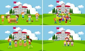 Um, jogo, de, estudantes, em, escola vetor
