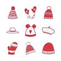 conjunto de ícones de vetor de item de roupas de inverno desenhados à mão
