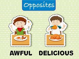 Palavras opostas para horrível e delicioso vetor