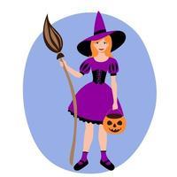 garota vestida de bruxa. masquerade halloween traje vassoura abóbora. vetor