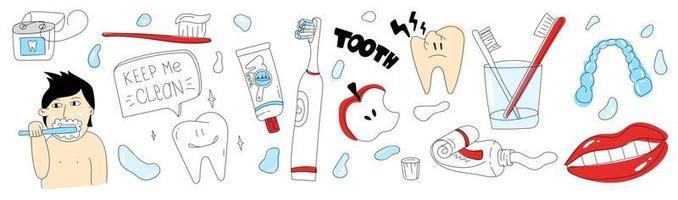 conjunto de doodle de cuidados dentários ferramentas de ilustração de cuidados dentários simples para dentes vetor