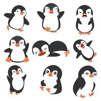 conjunto de vetores de pequeno pinguim fofo isolado