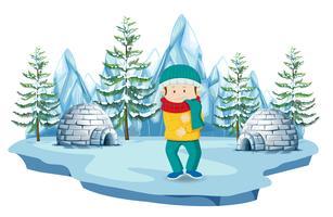 Um menino no Pólo Norte vetor