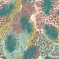Na moda sem costura padrão exótico com palm e animal prins vetor