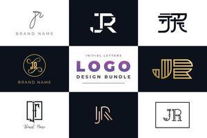 conjunto de coleção inicial letras jr logo design. vetor