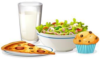 Um almoço definido no fundo branco vetor
