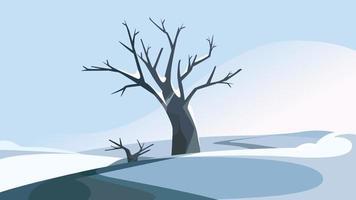 árvore na colina no inverno. vetor