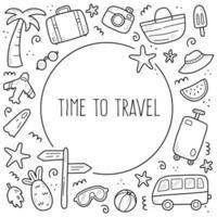 mão desenhada conjunto de viagens férias de verão vetor