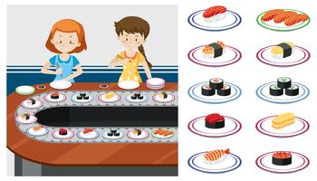 Dois, ladys, em, um, sushi, trem vetor