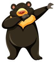Urso pardo dançando fundo branco vetor