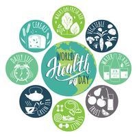Conceito de dia de saúde do mundo. vetor