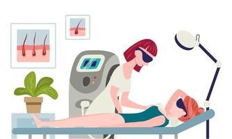 cosmetologista em seu salão faz uma mulher a laser depilação axilas. vetor