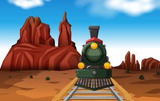Passeio de trem no deserto no dia vetor
