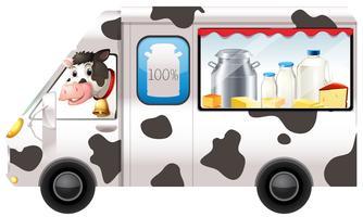 Vaca leiteira em um caminhão vetor