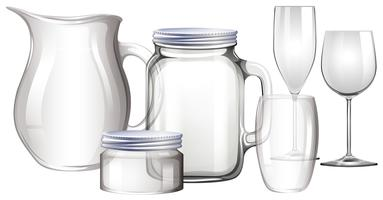 Diferentes tipos de recipientes de vidro